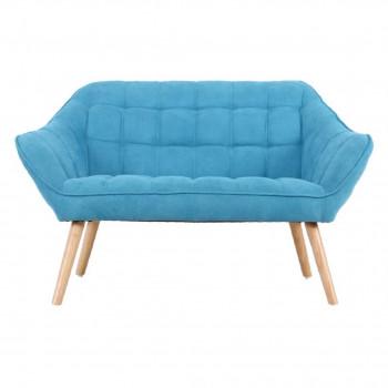 Banquette VISBY de style scandinave en velours bleu turquoise