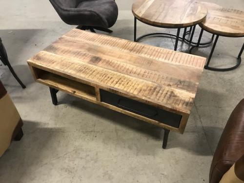Table Basse Industriel en Métal & Manguier | 120x46x60cm
