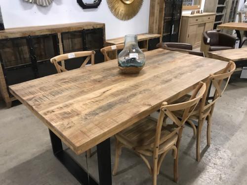 Table à Manger Industriel en Métal & Manguier | 200x77x100cm