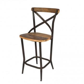 Tabouret de Bar Vintage industriel métal & vieux bois