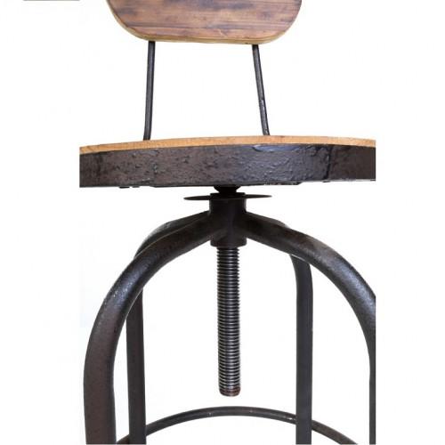 Tabouret de Bar Vintage industriel métal & Vieux Bois réglable