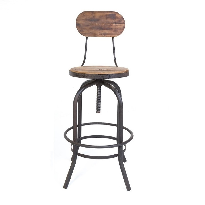 tabouret de bar vintage industriel m tal vieux bois. Black Bedroom Furniture Sets. Home Design Ideas