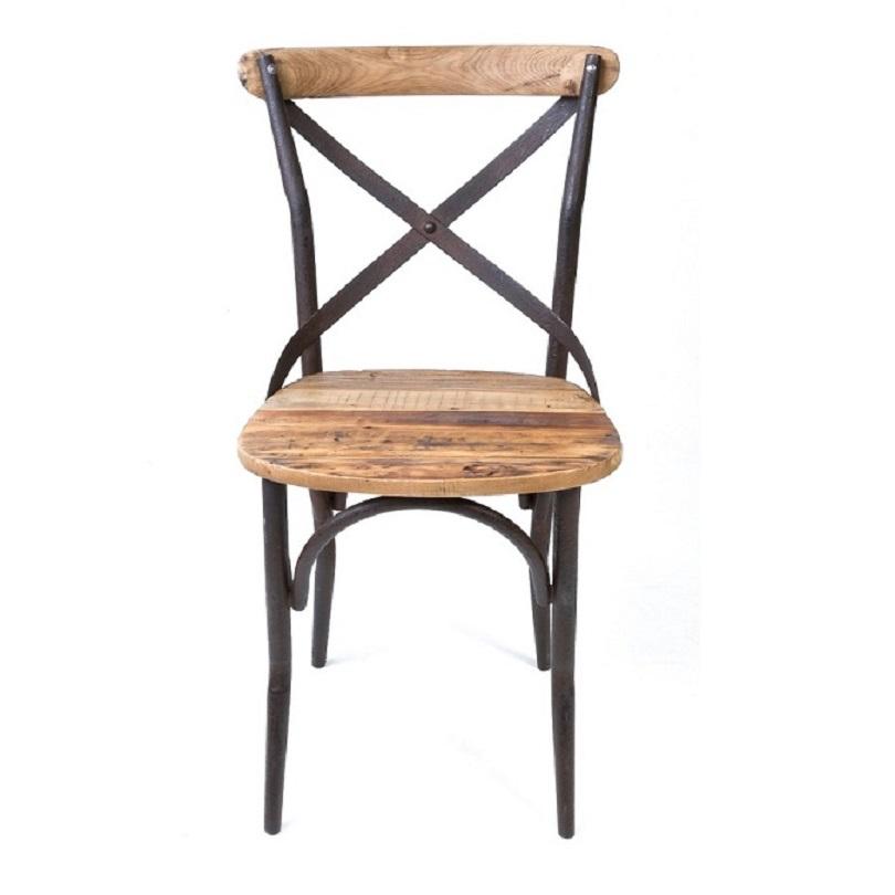 Chaise Bistrot De Style Vintage Industrielle Mtal Et Vieux Bois