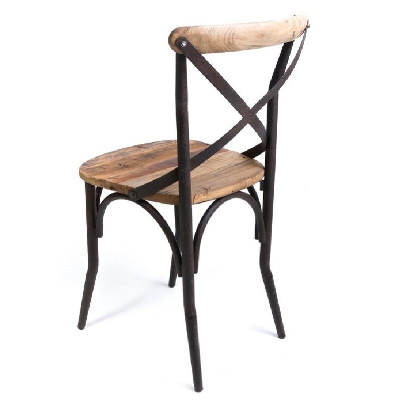 Chaise Bistrot De Style Vintage Industrielle Metal Et Vieux Bois