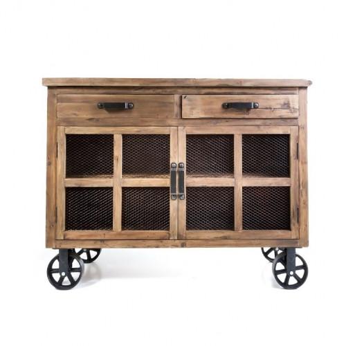 Buffet Trollet Vintage industriel métal & Vieux Bois avec roues - 140x50x107 cm