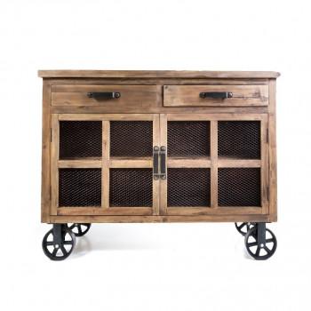 Buffet Trollet Vintage industriel métal & Vieux Bois avec roues