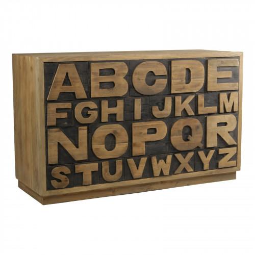 Meuble à tiroirs Alphabet Vintage industriel Vieux Bois