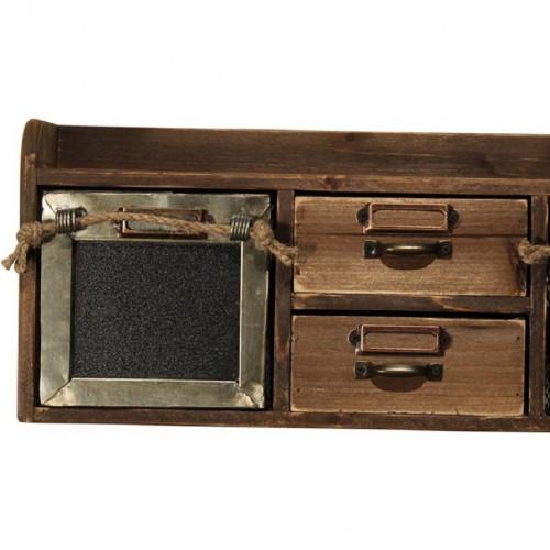 Boîte à épices de style vintage industriel en vieux bois