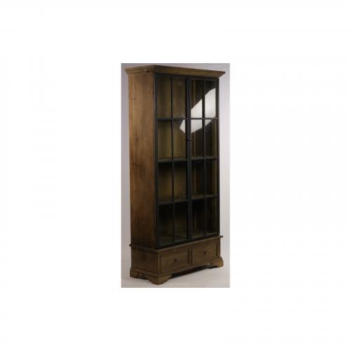 Vitrine vintage industrielle métal & Vieux Bois - 110x47x230 cm