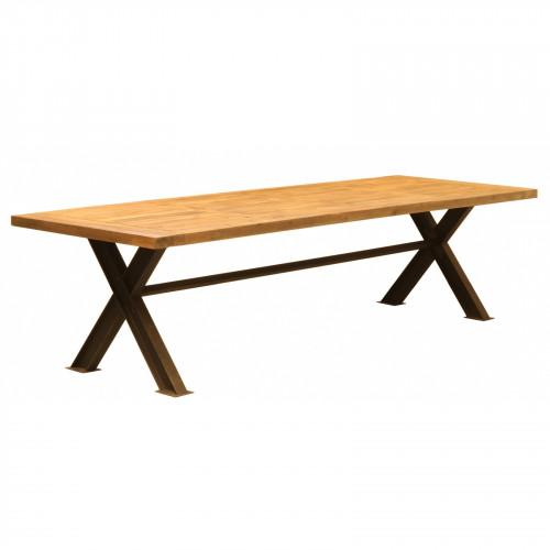Table de repas Vintage industrielle métal & Vieux Bois - 300x100x78 cm