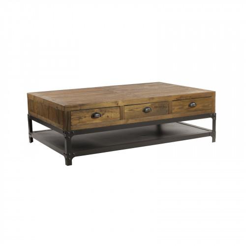 Table de salon Vintage industrielle métal & Vieux Bois 140x90 cm ouvrant à 6 tiroirs