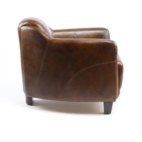 Fauteuil vintage en cuir Cigare - 69x79x68 cm