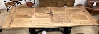 Plateau en vieux bois 220x100 cm pour Pied de table à manivelle industrielle