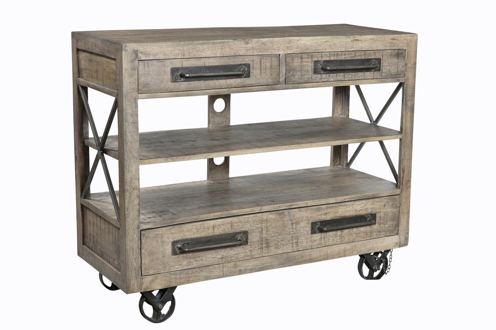 desserte roulettes de style industriel en metal. Black Bedroom Furniture Sets. Home Design Ideas