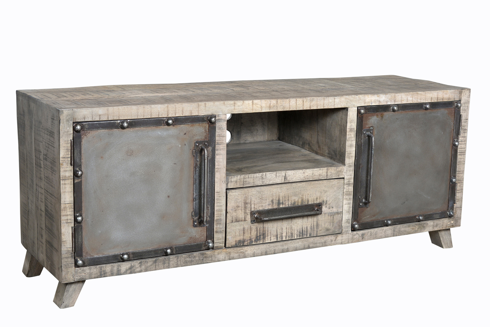 Meuble Tv Vintage Industriel Metal Bois 2 Portes 1 Tiroir Le  # Meuble Industriel Bois Et Metal