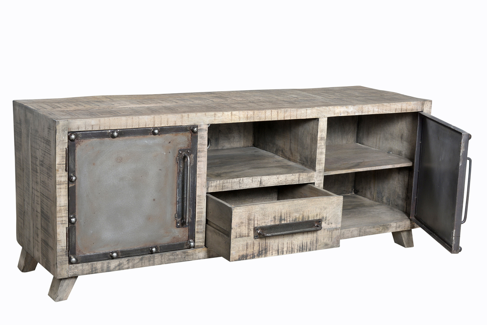 meuble tv 153 cm de style industriel en metal manguier massif le d p t des docks. Black Bedroom Furniture Sets. Home Design Ideas
