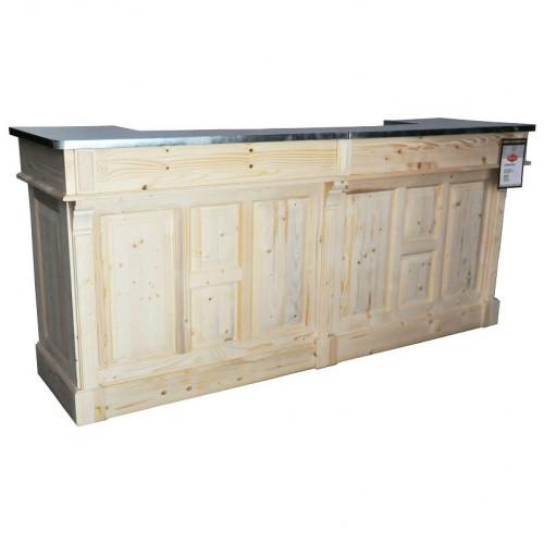 Comptoir Bar en chêne Plateau Zinc acier | 240cm