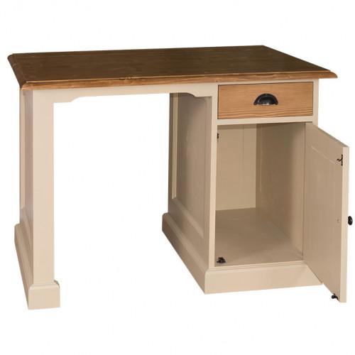 Bureau en bois massif avec 1 porte et 1 tiroir ROMANE | 110x70x78 cm