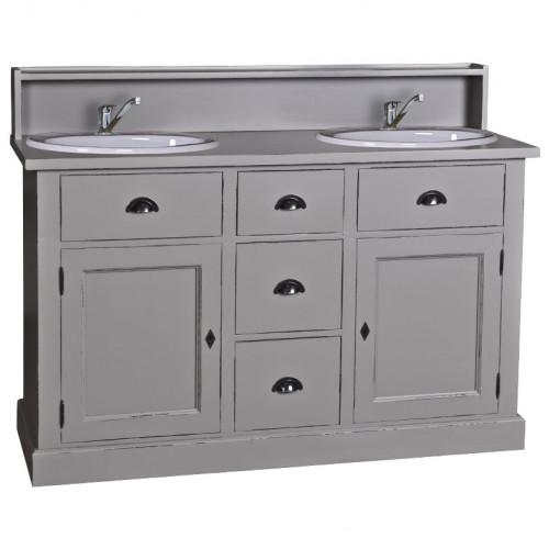 Meuble de salle de bain avec double vasques ROMANE en pin massif - 147x51x110