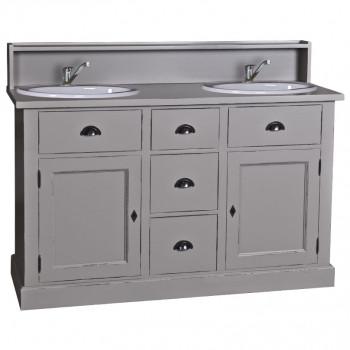 Meuble de salle de bains - 2 vasques avec petite crédence