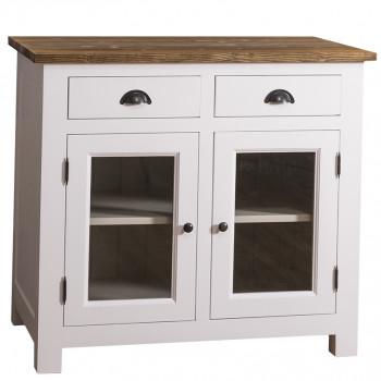 Meuble bas de cuisine-ROMANE-2 tiroirs 2 portes vitrées