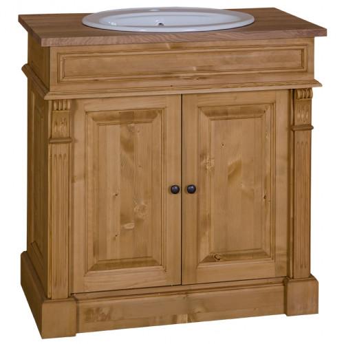Meuble de salle de bain avec 1 vasque ROMANE en pin massif - 90x51x91