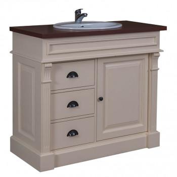 Meuble de salle de bain avec 1 vasque ROMANE en pin massif - 103x51x91