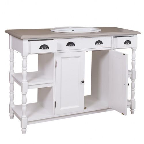 Meuble de salle de bains simple vasque - longueur : 128 cm