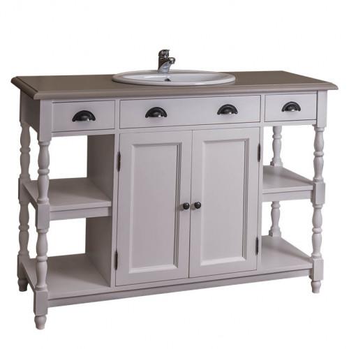 Meuble de salle de bain avec 1 vasque ROMANE en pin massif - 128x54x91