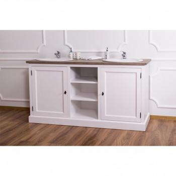 Meuble de salle de bain avec double vasques ROMANE en pin massif - 170x60x90