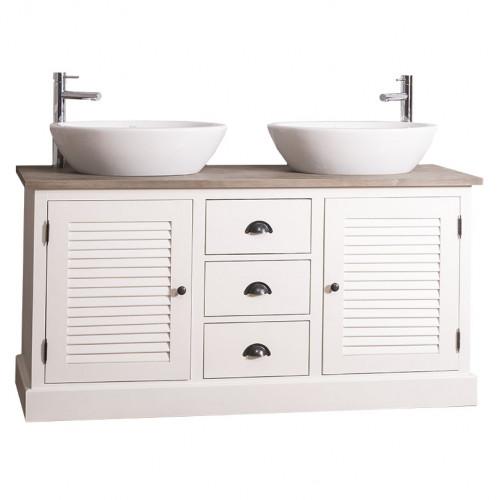 Meuble de salle de bain avec double vasques bol ROMANE en pin massif - 150x51x75