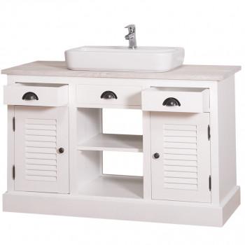 Meuble de salle de bain avec vasque rectangulaire ROMANE en bois massif - 120x51x75