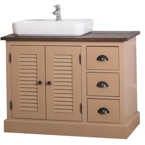 meuble de salle de bain avec vasque rectangulaire ROMANE en pin massif - 100x51x75
