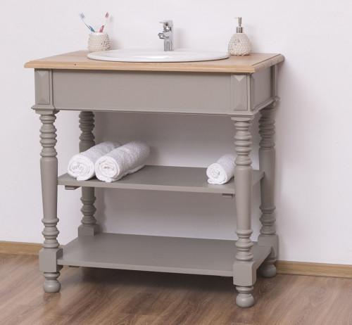 Meuble de salle de bain avec 1 vasque ROMANE en pin massif - 90x54x90