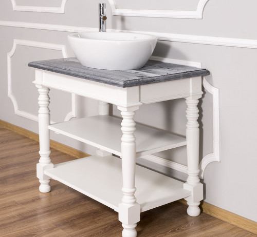 Meuble de salle de bain avec vasque bol ROMANE en pin massif - 90x54x74