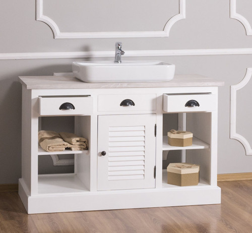 Meuble de salle de bain avec 1 vasque rectangulaire ROMANE en pin massif - 120x51x75