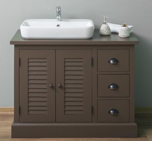 Meuble Vasque 2 portes 3 tiroirs ROMANE | 100x51x75cm