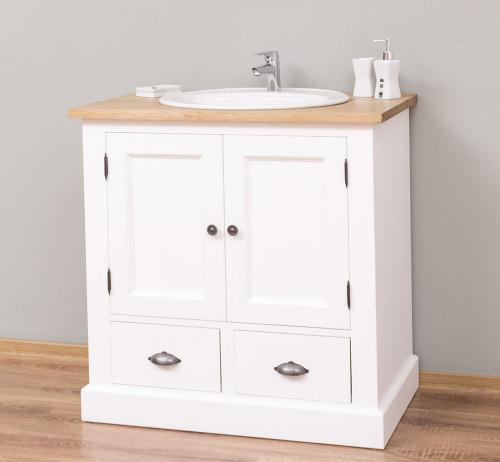 Meuble de salle de bain avec 1 vasque ROMANE en pin massif - 90x51x90