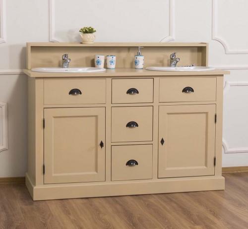 Meuble de salle de bain avec double vasques en pin massif | 147x51x110