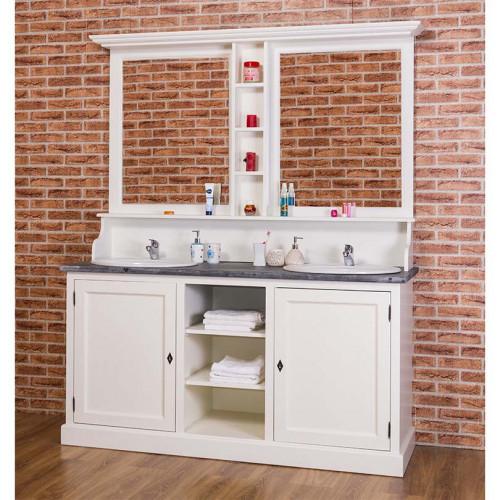 meuble de salle de bain avec double vasques et miroir ROMANE en pin massif - 174x60x210
