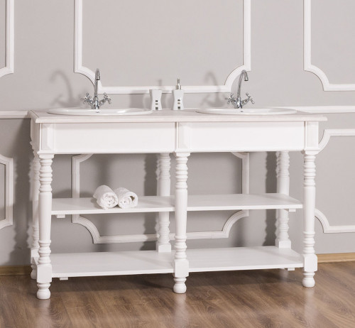 Meuble de salle de bain avec double vasques ROMANE en pin massif - 150x54x90