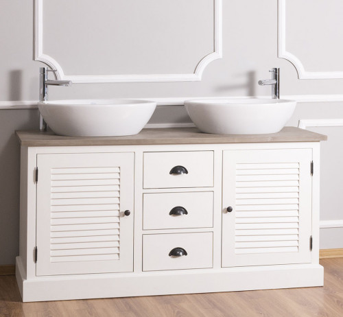 Meuble de salle de bain avec double vasques ROMANE en pin massif - 150x51x75