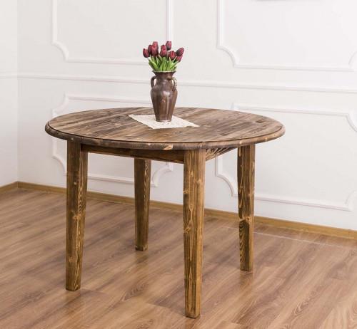 Table ronde en bois massif extensible ROMANE - 116/198x116x78 cm