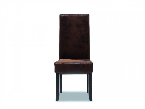 Chaise Vintage en tissu imitation cuir vieilli - 48x50x107 cm