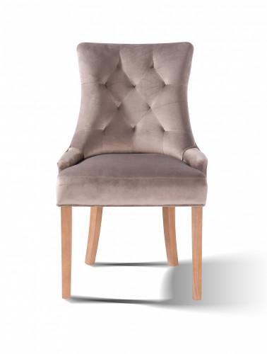 chaise contemporaine en velours beige avec piètement en bois massif couleur naturel - 57x60x93 cm