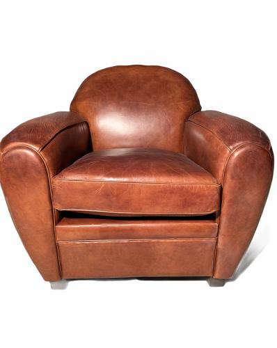 Fauteuil Club Vintage en cuir de vachette couleur cigare