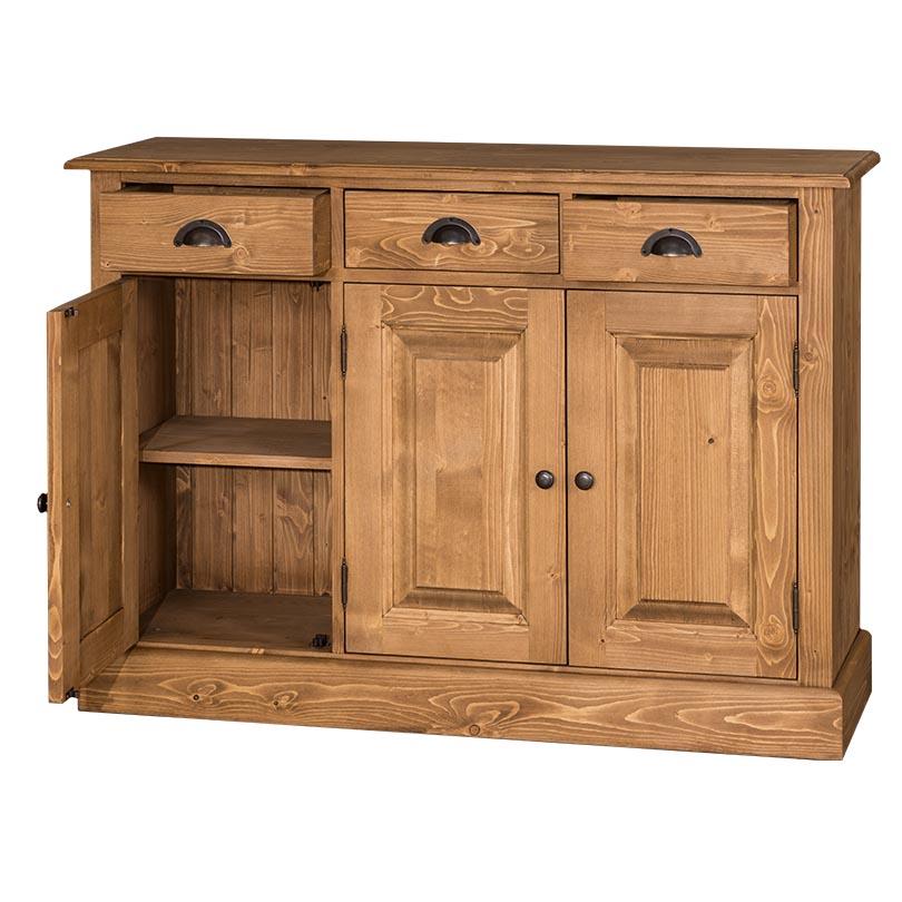 bahut en bois massif 3 portes et 3 tiroirs le d p t des docks. Black Bedroom Furniture Sets. Home Design Ideas