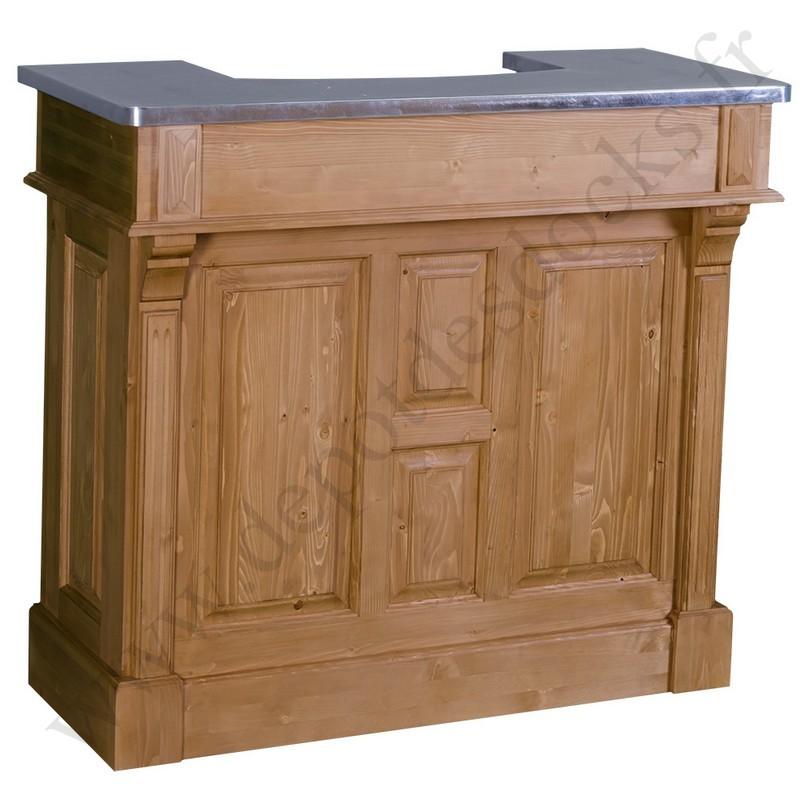 comptoir bar en pin massif 120 cm plateau zinc le d p t. Black Bedroom Furniture Sets. Home Design Ideas