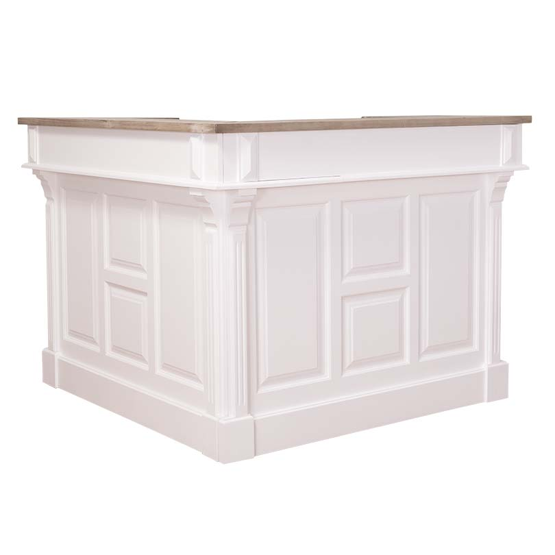 comptoir bar d 39 angle en pin massif 240x240 cm avec plateau zinc le d p t des docks. Black Bedroom Furniture Sets. Home Design Ideas