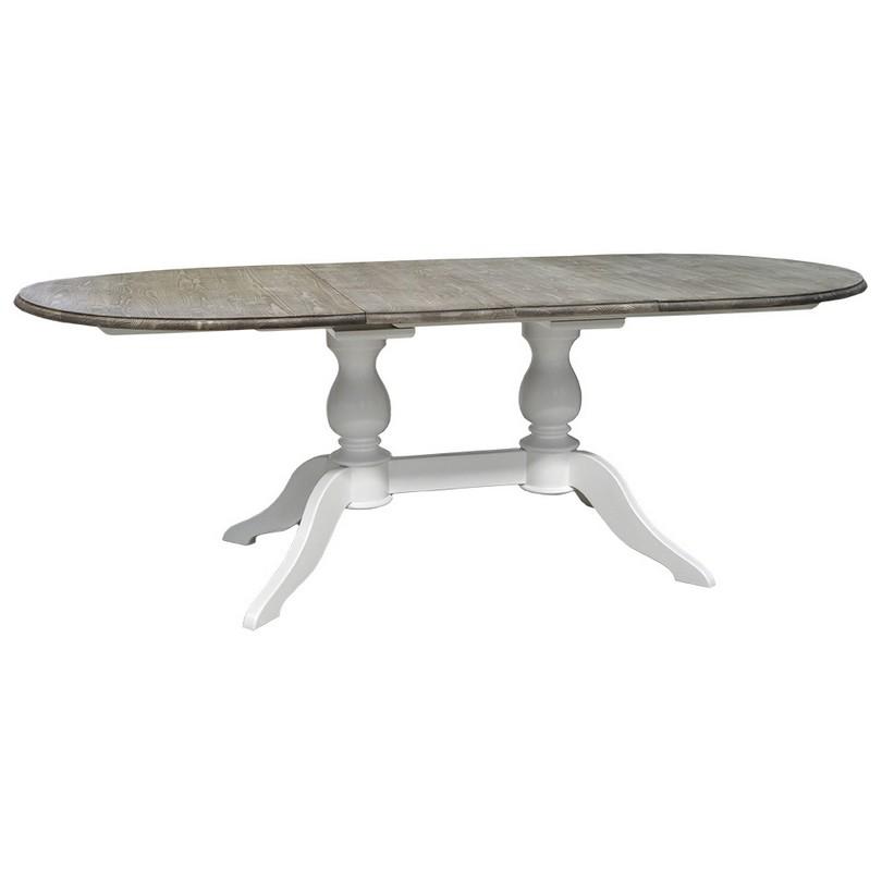 Table ovale extensible avec 2 pieds en bois massif le for Table ovale en bois massif